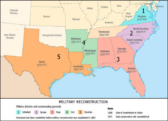 Civil War Reconstruction Map.