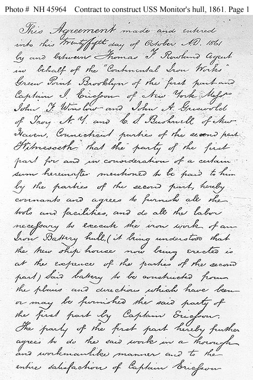 USS Monitor Original Contract Page One.jpg