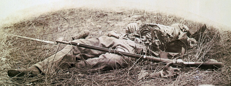 Union soldier killed by shell in Wheatfield.jpg