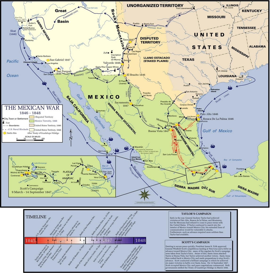 Mexican-American War Map of Battles, Campaigns.jpg