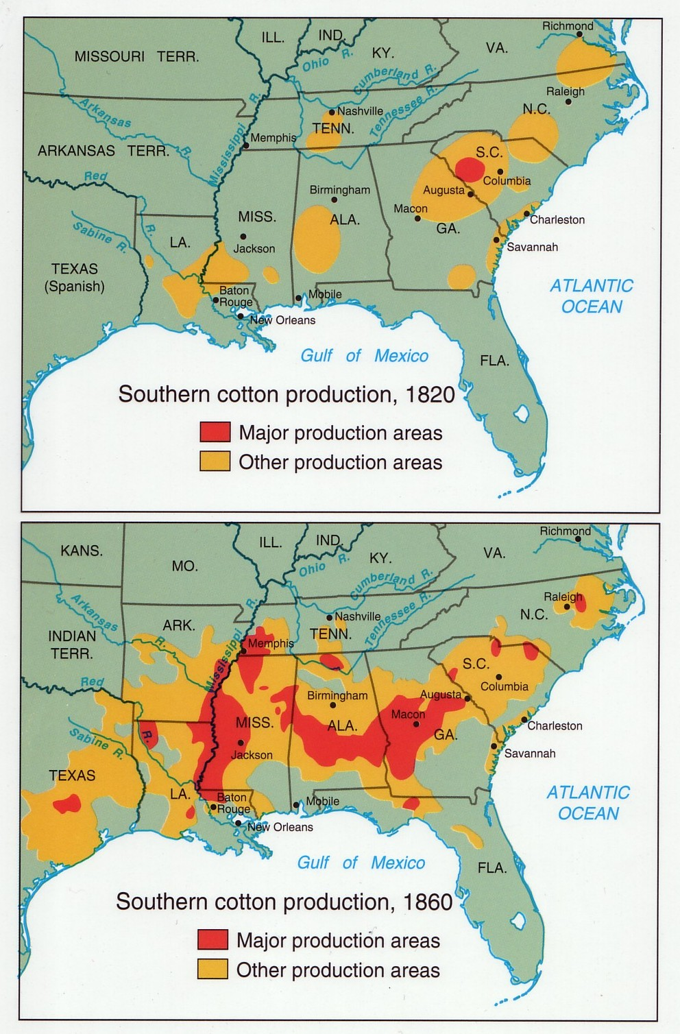 Secession Cotton Slave Map Slavery Southern.jpg