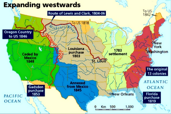 Us Land Acquisition Map US Expansion Map Expansionism Maps Westward Expansion